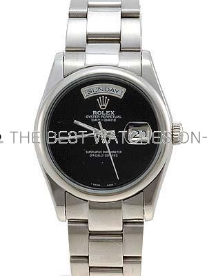 Rolex Oyster Day Date Replica Watches White Gold Black dial roman numeral hour markers II RLLP03