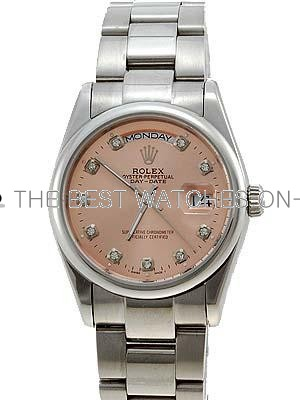 Rolex Oyster Day Date Replica Watches White Gold Salmon Rose dial diamond hour markers RLLPA4
