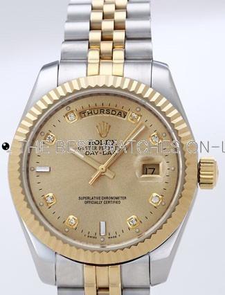 Rolex Day-Date II Replica Watches Gold Dial RX41119
