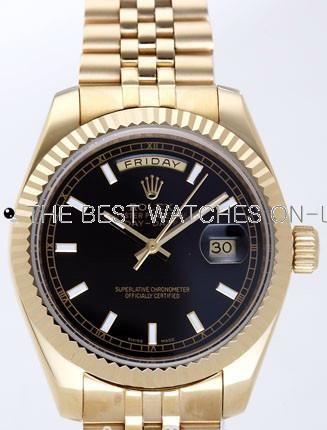 Rolex Day-Date II Replica Watches Black Dial RX41139