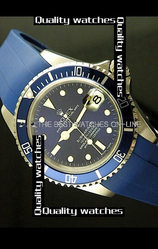 Swiss Rolex Submariner 1:1 Mirror Blue Rubber strap Automatic Replica Watch