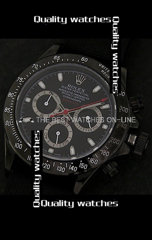 Swiss Rolex Cosmograph Daytona Black Out Limited Edition Black Dial Nylon Strap Automatic Replica Watch