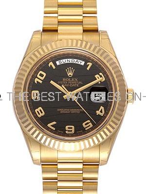 Replica Rolex Day-Date II Full Gold Automatic Watch 218238 Black Dial 41mm