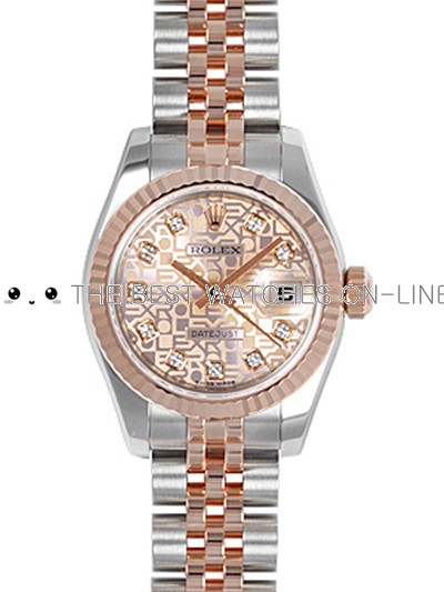 Rolex Oyster Perpetual 179171-G-63131 Pink dial Ladies Automatic Replica Watch