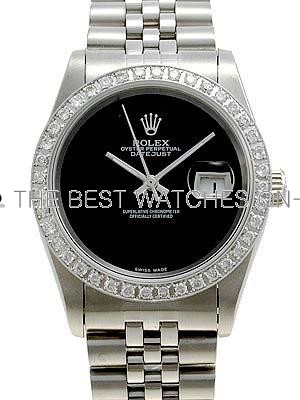 Rolex Datejust Replica Watches SS Black dial no markers II Diamonds Bezel