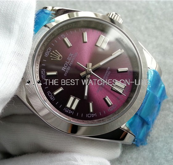 Rolex Oyster Perpetual 116000 Red grape dial Automatic Replica Watch