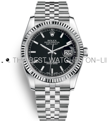 Swiss Rolex Datejust 18K White Gold Black Leather Strap 116234-0085 Black Dial 36mm