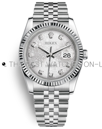 Rolex Datejust Replica Watches Jubilee Silver Computer Dial Diamond Hour markers