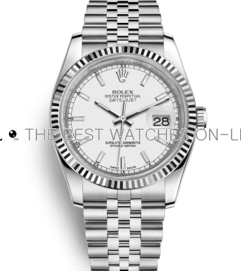 Swiss Rolex Datejust Mens 116234-0088 White dial Bar-type time markers Automatic Replica Watch
