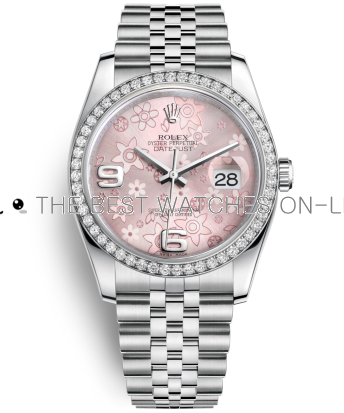 Rolex Datejust Swiss Automatic Watch 116244-0004 Pink Floral Dial 36mm (High End)