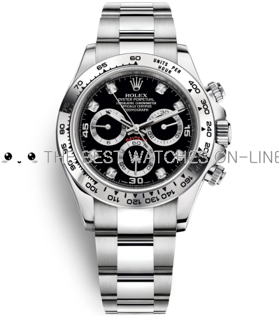 Replica Rolex Daytona Automatic Watch Diamond Marker Black Dial 40mm