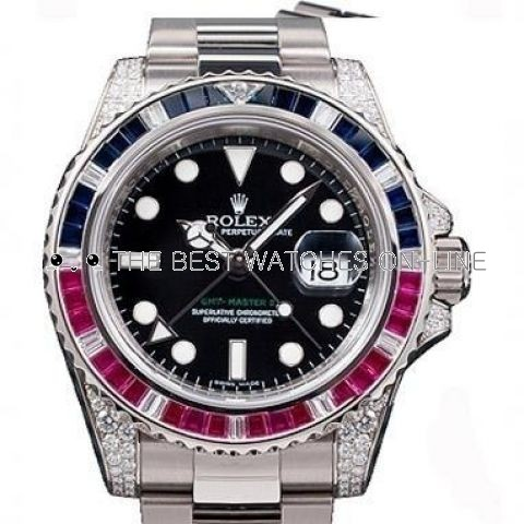 Swiss Rolex GMT-Master II 116759 SARU-78209 18K White Gold Diamonds Bezel Men Automatic Replica Watch