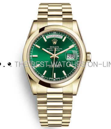 Rolex Day-Date Swiss Automatic Gold Watch 118208-0349 Green Dial 36mm (High End)