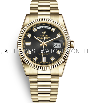 Rolex Day-Date Swiss Automatic Gold Watch 118238-0076 Black Dial 36mm (High End)