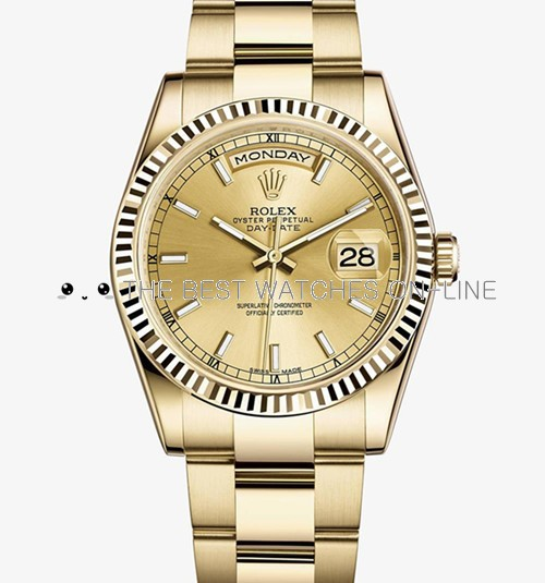Replica Rolex Day-Date Automatic Full Gold Watch 118238-0110 36mm