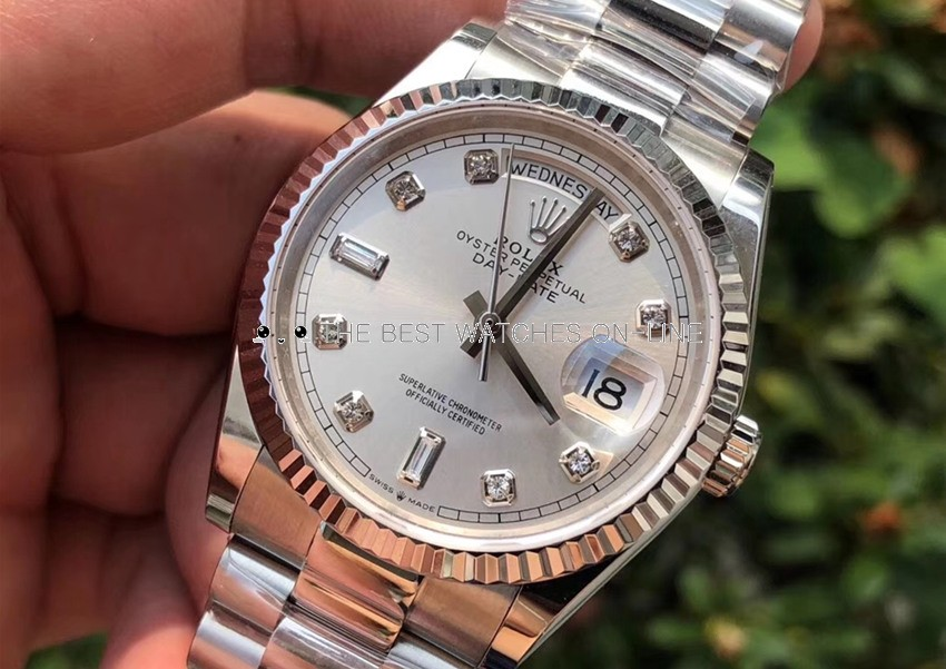 Replica Rolex Day-Date Swiss Watches 118239 Silver-Gray Dial 36mm(High End)