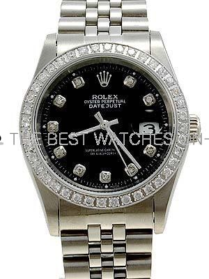Rolex Datejust Replica Watches SS Black dial diamond (CZ) hour markers I