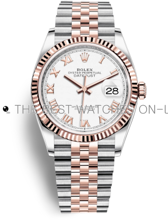 Rolex Datejust Swiss Automatic Rose Gold Watch 126231-0015 White Dial 36mm (High End)