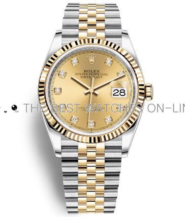 Swiss Rolex Datejust 126233-0017 Diamond time markers Golden dial Automatic Replica Watch