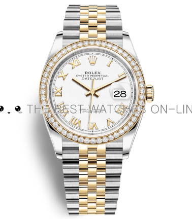 Rolex Datejust Swiss Automatic Yellow Gold Watch 126283RBR-0015 White Dial 36mm (High End)