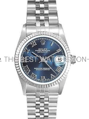 Rolex Datejust Replica Watches SS Stainless Steel Blue Dial Roman Numeral Hour markers V