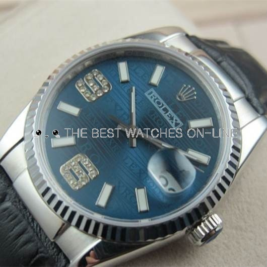 Swiss Rolex Datejust White Gold Black Leather strap Blue dial Diamonds Automatic Replica Watch