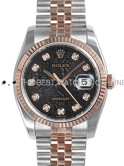 Rolex Oyster Perpetual 116231-G-63201 Black Diamonds Dial Men Automatic Replica Watch