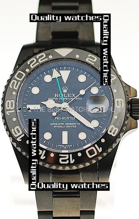 Swiss Rolex Pro-Hunter GMT-Master II Dark blue dial Ceramic bezel PVD  Automatic Replica Watch