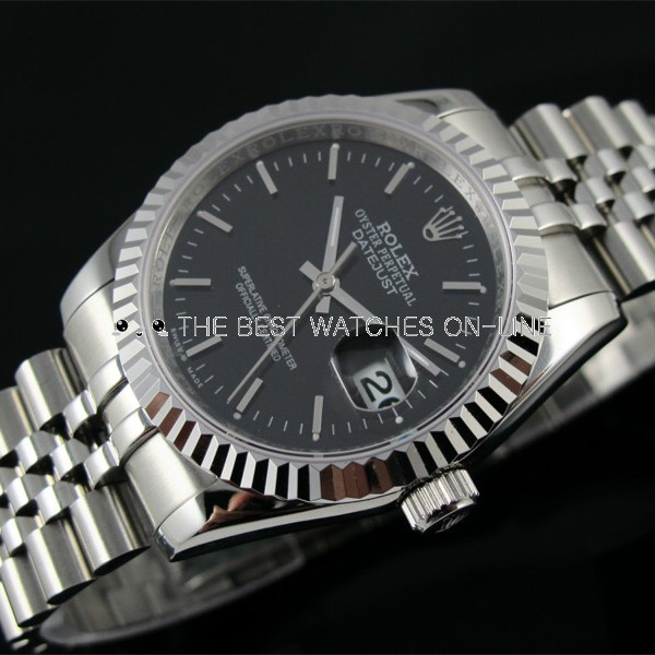 Swiss Rolex Datejust Black dial Bar-type time markers Automatic Replica Watch