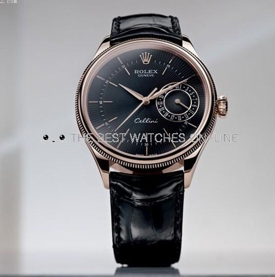 Rolex Cellini Swiss Replica Watch Rose Gold 50515-0011 Black Dial 39mm (High End)