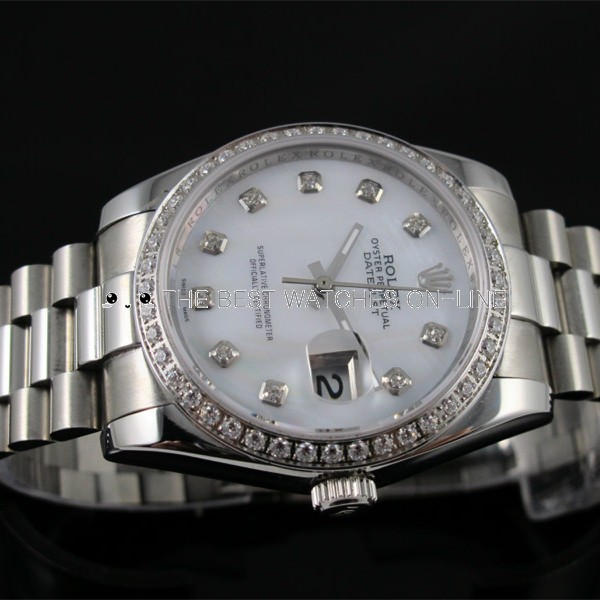 Swiss Rolex Datejust White dial Diamonds bezel and time makers Automatic Replica Watch