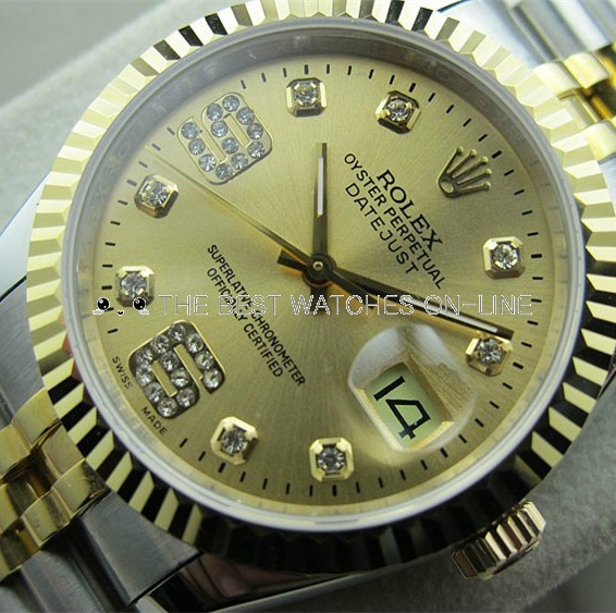 Swiss Rolex Datejust Golden dial 18K Yellow Gold Diamond time markers Dense Diamonds on 6 and 9 o'clock Automatic Replica Watch