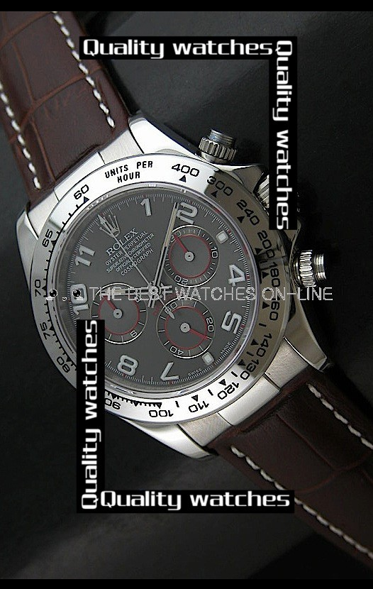 Swiss Rolex Cosmograph Daytona Gray Dial Brown Leather Strap Automatic Replica Watch