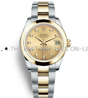 Replica Rolex Datejust Automatic Two-Tone Watch 178243-0024 Gold Dial 31mm