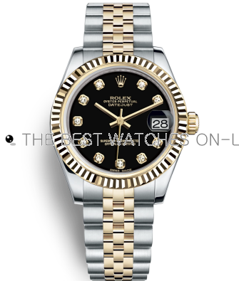 Replica Rolex Datejust Automatic Two-Tone Watch 178273-0020 Black Dial 31mm