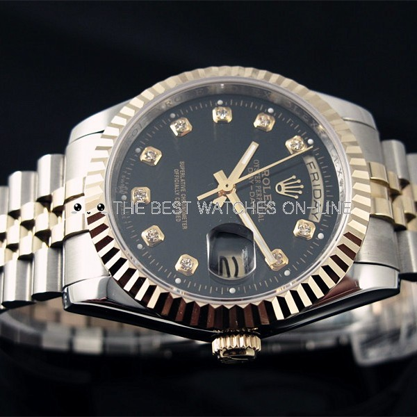 Rolex Day-Date 18K Gold Black dial Diamond time markers Automatic Replica Watch