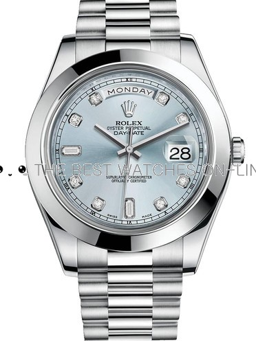 Rolex Day-Date Swiss Replica Watch 218206-0009 Ice Blue Dial 41mm (High End)