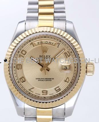 Rolex Day-Date II Replica Watches Gold Dial RX41129