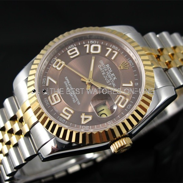 Swiss Rolex Datejust 18K Yellow Gold Chocolate Concentric circles dial Arabic numerals Automatic Replica Watch