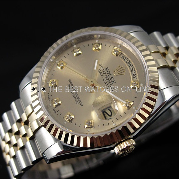 Rolex Day-Date 18K Gold Diamond time markers Automatic Replica Watch