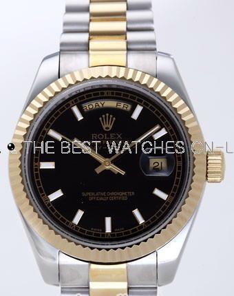 Rolex Day-Date II Replica Watches Black Dial RX41130