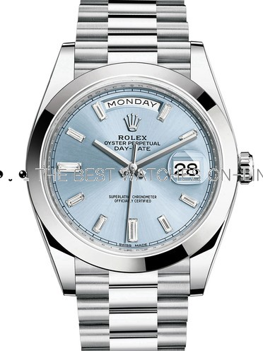 Rolex Day-Date II Swiss Replica Watch 228206-0002 Ice Blue Dial 40mm (High End)