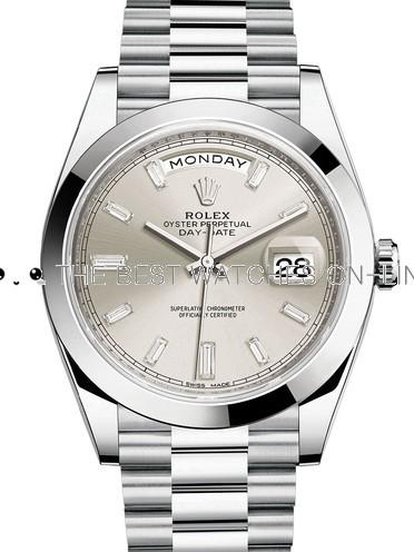 Rolex Day-Date II Swiss Replica Watch 228206-0012 Silver Dial 40mm (High End)
