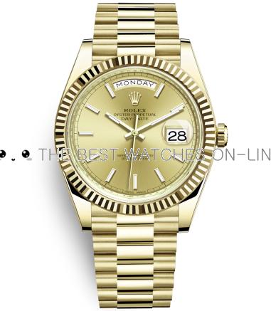 Rolex Day-Date II Swiss Replica Watch 228238-0003 Gold Dial 40mm (High End)