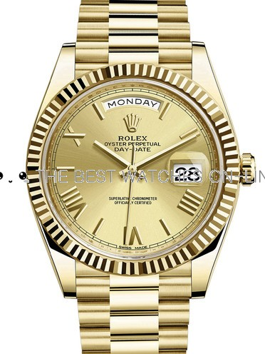 Rolex Day-Date II Swiss Replica Watch 228238-0006 Gold Dial 40mm (High End)