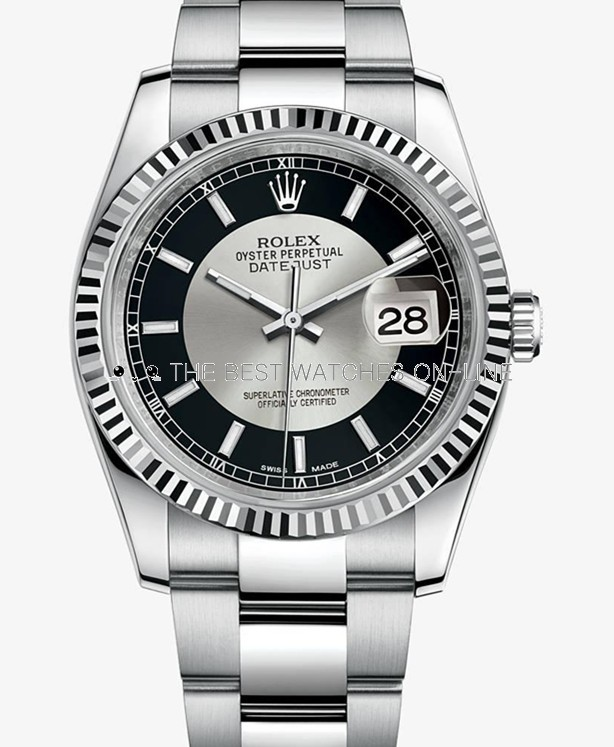 Swiss Rolex Datejust Mens 116234 Black Silver dial Bar-type time markers  Automatic Replica Watch