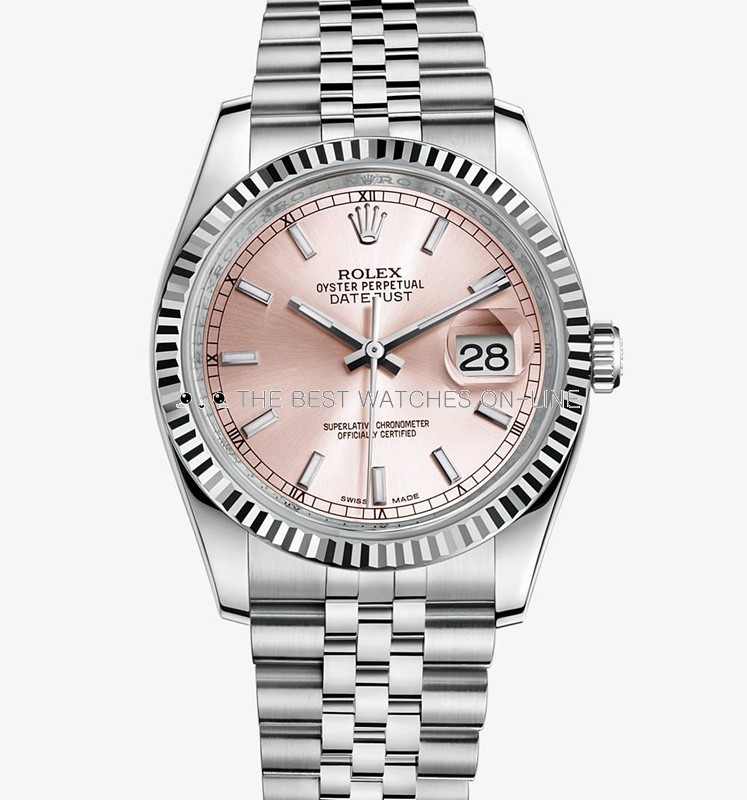Swiss Rolex Datejust Mens 116234 Pink dial Bar-type time markers  Automatic Replica Watch