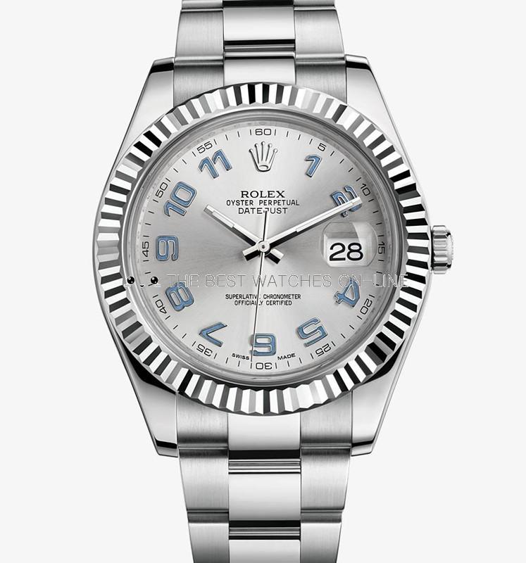 Rolex Datejust II Mens 116334 Silver dial Blue Arabic numerals Automatic Replica Watch