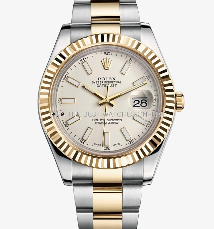 Swiss Rolex Datejust II Mens 116333 Ivory white dial Bar-type time markers Automatic Replica Watch