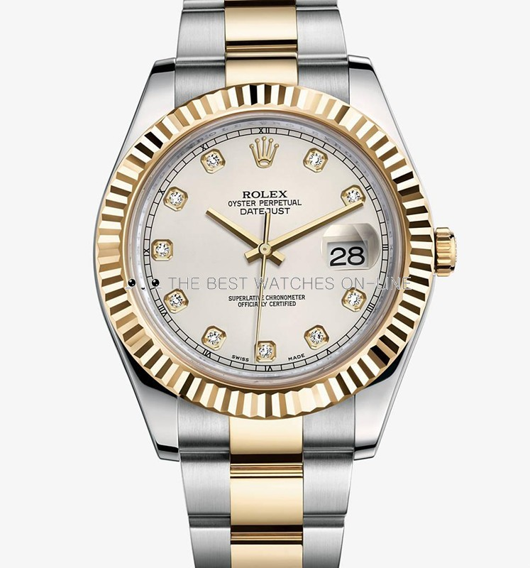 Rolex Datejust II Mens 116333 Ivory white dial Diamond time markers Automatic Replica Watch